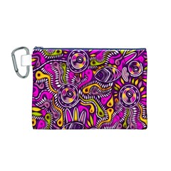 Purple Tribal Abstract Fish Canvas Cosmetic Bag (Medium)