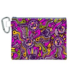 Purple Tribal Abstract Fish Canvas Cosmetic Bag (XL)