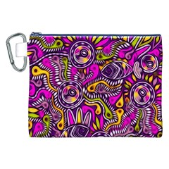 Purple Tribal Abstract Fish Canvas Cosmetic Bag (XXL)
