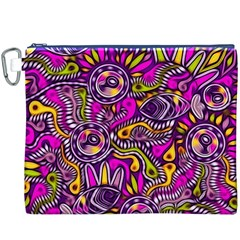 Purple Tribal Abstract Fish Canvas Cosmetic Bag (XXXL)