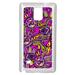Purple Tribal Abstract Fish Samsung Galaxy Note 4 Case (White)