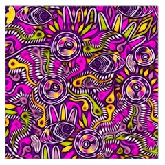 Purple Tribal Abstract Fish Large Satin Scarf (square)