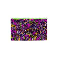 Purple Tribal Abstract Fish Cosmetic Bag (XS)