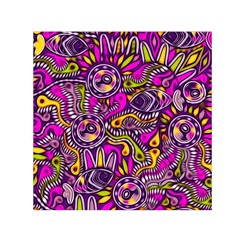 Purple Tribal Abstract Fish Small Satin Scarf (Square)