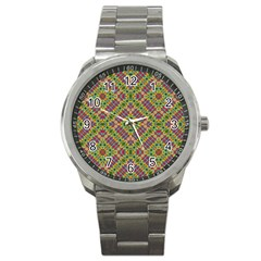 Multicolor Geometric Ethnic Seamless Pattern Sport Metal Watch