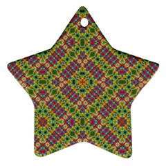 Multicolor Geometric Ethnic Seamless Pattern Star Ornament (two Sides)