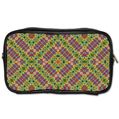 Multicolor Geometric Ethnic Seamless Pattern Travel Toiletry Bag (two Sides)