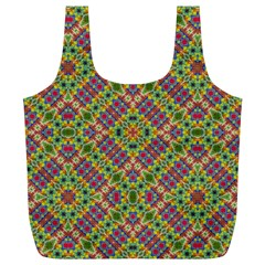 Multicolor Geometric Ethnic Seamless Pattern Reusable Bag (XL)