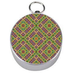 Multicolor Geometric Ethnic Seamless Pattern Silver Compass