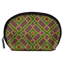 Multicolor Geometric Ethnic Seamless Pattern Accessory Pouch (Large)