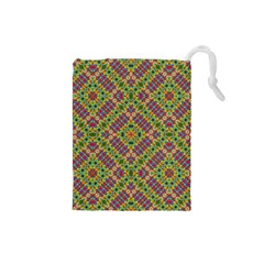 Multicolor Geometric Ethnic Seamless Pattern Drawstring Pouch (Small)
