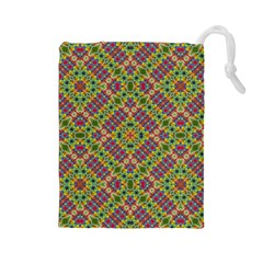 Multicolor Geometric Ethnic Seamless Pattern Drawstring Pouch (Large)