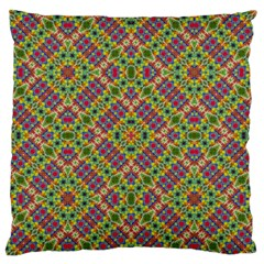 Multicolor Geometric Ethnic Seamless Pattern Large Flano Cushion Case (One Side)