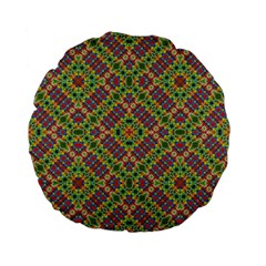 Multicolor Geometric Ethnic Seamless Pattern Standard 15  Premium Flano Round Cushion