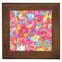 Hippy Peace Swirls Framed Ceramic Tile