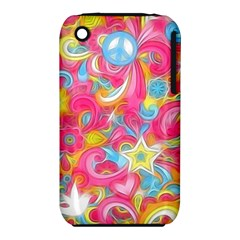 Hippy Peace Swirls Apple Iphone 3g/3gs Hardshell Case (pc+silicone)