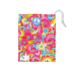 Hippy Peace Swirls Drawstring Pouch (Medium)