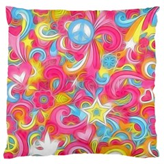 Hippy Peace Swirls Large Flano Cushion Case (One Side)