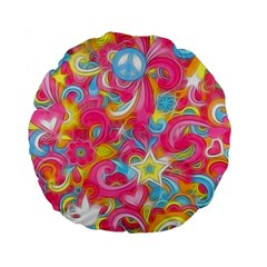 Hippy Peace Swirls Standard 15  Premium Flano Round Cushion