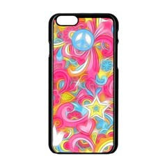 Hippy Peace Swirls Apple iPhone 6 Black Enamel Case