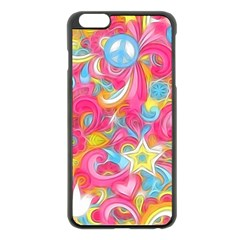 Hippy Peace Swirls Apple iPhone 6 Plus Black Enamel Case