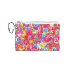 Hippy Peace Swirls Canvas Cosmetic Bag (Small)