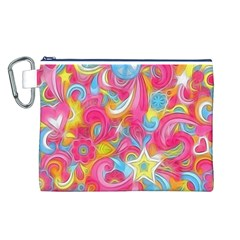 Hippy Peace Swirls Canvas Cosmetic Bag (large)