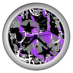 Purple Scene Kid Wall Clock (silver)