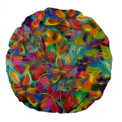 Colorful Autumn Large 18  Premium Flano Round Cushion