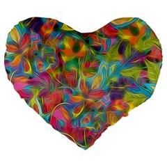 Colorful Autumn Large 19  Premium Flano Heart Shape Cushion