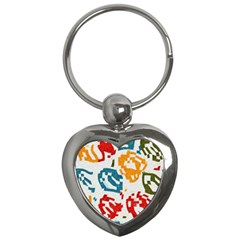 Colorful Paint Stokes Key Chain (heart)