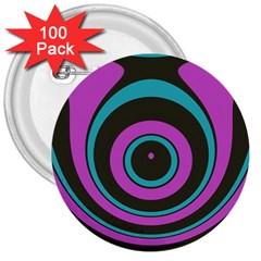 Distorted Concentric Circles 3  Button (100 Pack)