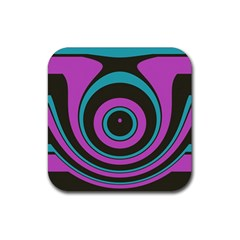 Distorted Concentric Circles Rubber Coaster (square)