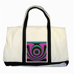 Distorted Concentric Circles Two Tone Tote Bag
