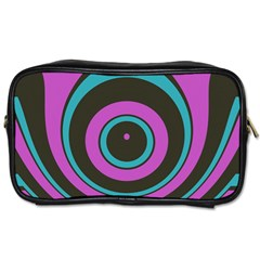 Distorted Concentric Circles Toiletries Bag (one Side)