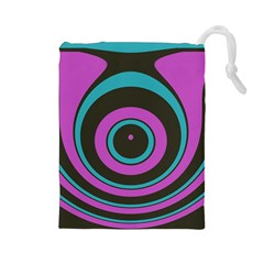 Distorted concentric circles Drawstring Pouch