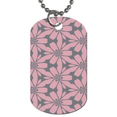 Pink Flowers Pattern Dog Tag (two Sides)