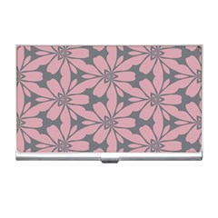 Pink Flowers Pattern Business Card Holder