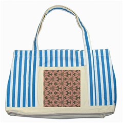 Pink Flowers Pattern Striped Blue Tote Bag