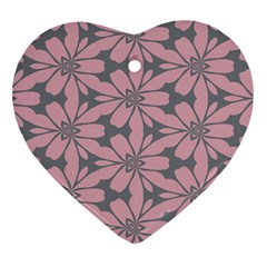 Pink Flowers Pattern Heart Ornament (two Sides)