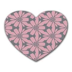 Pink Flowers Pattern Heart Mousepad
