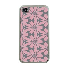 Pink Flowers Pattern Apple Iphone 4 Case (clear)