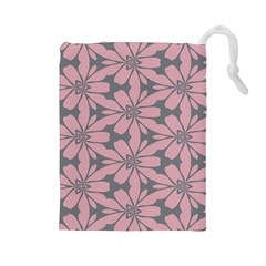 Pink flowers pattern Drawstring Pouch