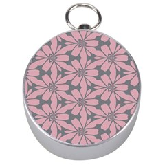 Pink Flowers Pattern Silver Compass