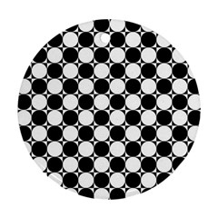 Black And White Polka Dots Round Ornament (two Sides)
