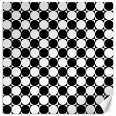 Black And White Polka Dots Canvas 20  X 20  (unframed)