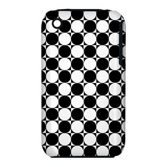 Black And White Polka Dots Apple iPhone 3G/3GS Hardshell Case (PC+Silicone)