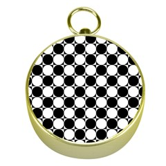 Black And White Polka Dots Gold Compass
