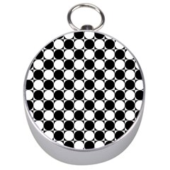 Black And White Polka Dots Silver Compass