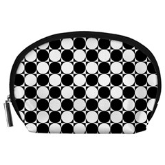 Black And White Polka Dots Accessory Pouch (large)